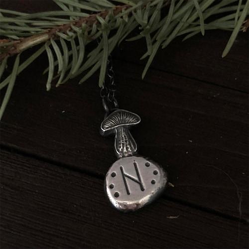 Silver Mushroom Pendant - Choose custom Rune - The Wicked Griffin