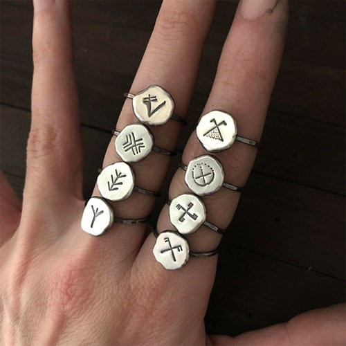 Vinca Symbol Ring Silver Stacking Ring The Wicked Griffin